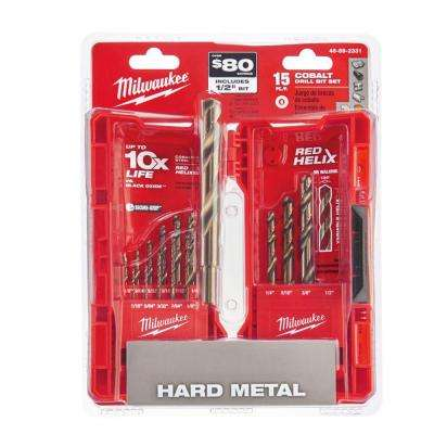 Cobalt Red Helix Drill Bit Kit (15-Piece)