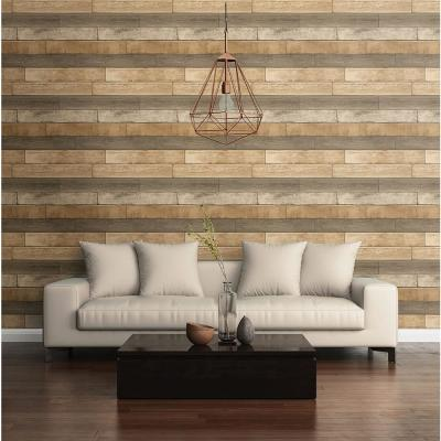 56.4  sq. ft. Porter Wheat Weathered Plank Wallpaper