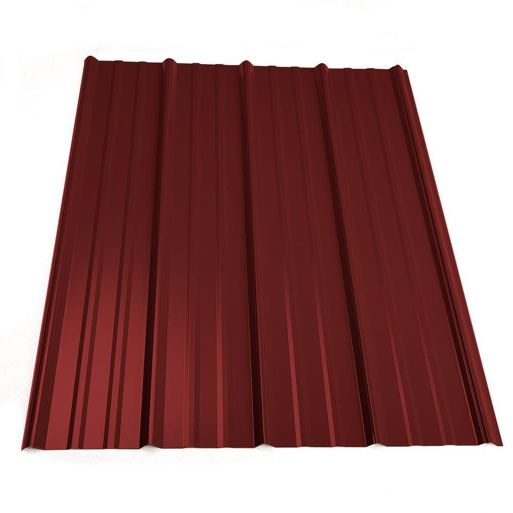 3 ft. 6 in. Classic Rib Steel Roof Panel in Red