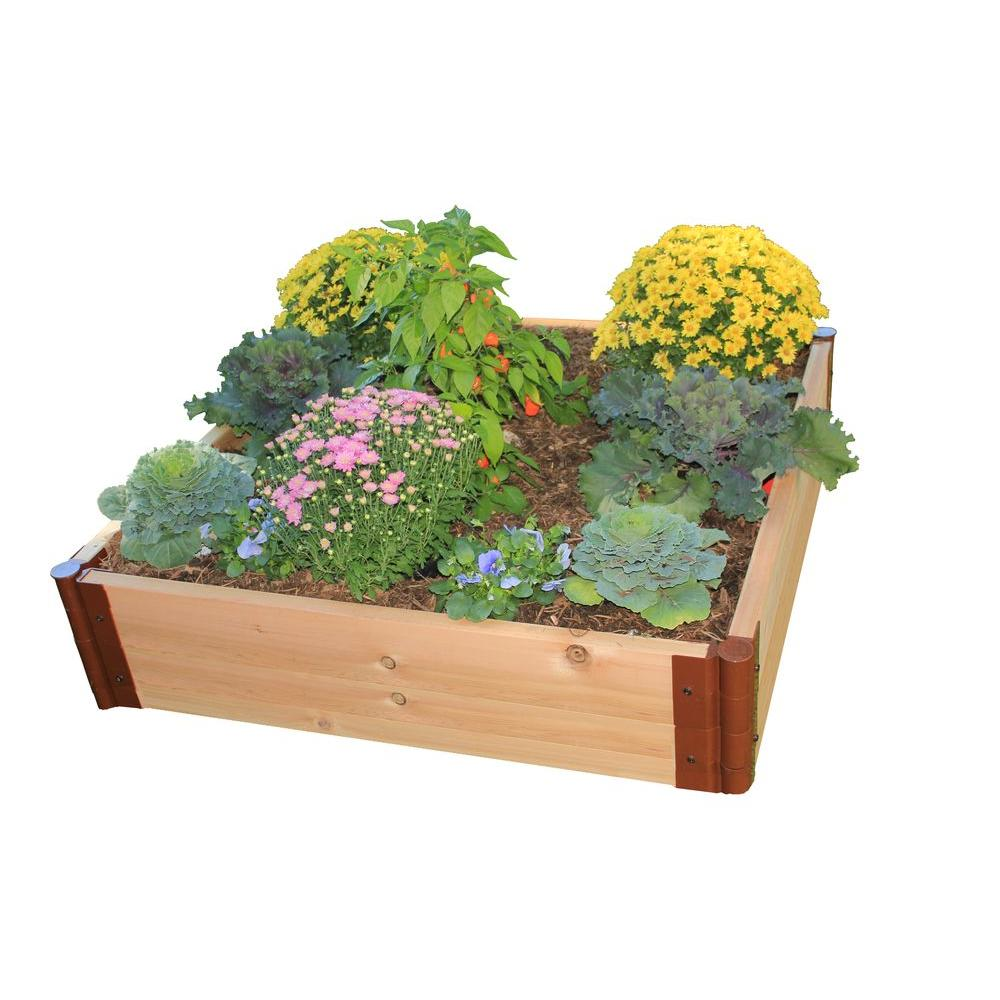 Frame It All Two Inch Series 4 ft. x 4 ft. x 12 in. Cedar Raised Garden Bed Kit