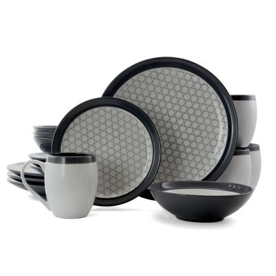 Fine Lines 16-Piece Grey Stoneware Dinnerware Set (Service for 4)