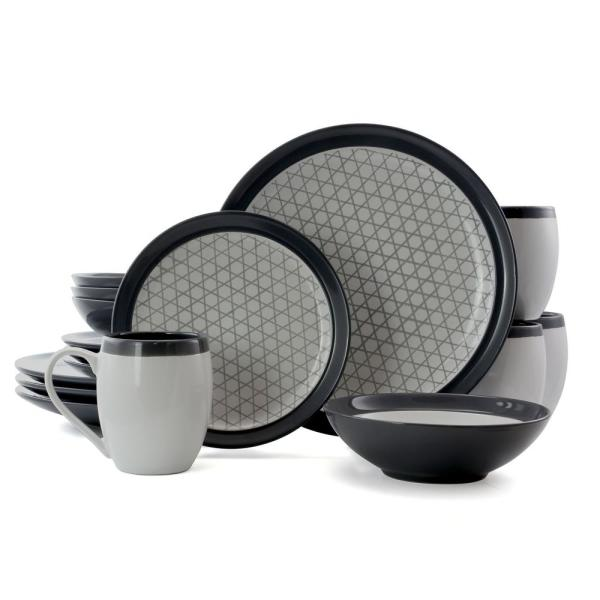 Fine Lines 16-Piece Contemporary Grey Stoneware Dinnerware Set (Service for 4)