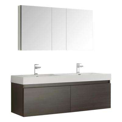 Mezzo 59 in. Vanity in Gray Oak with Acrylic Vanity Top in White with White Basins and Mirrored Medicine Cabinet