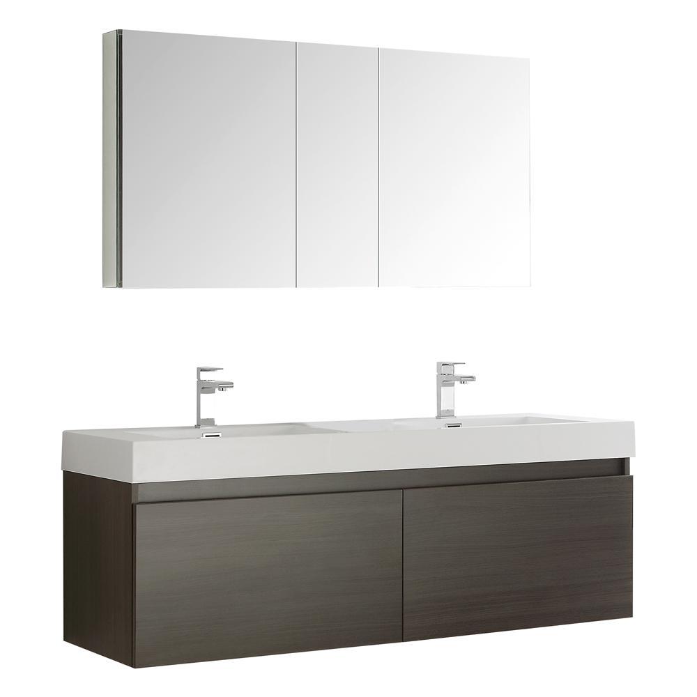 Mezzo 59 in. Vanity in Gray Oak with Acrylic Vanity Top