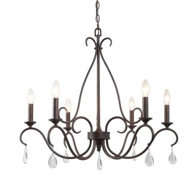 Farmhouse Kitchen Chandelier Esquilin 28 in. 6-Light Rusted Bronze Farmhouse Candle Chandelier Light with Crystal Drops