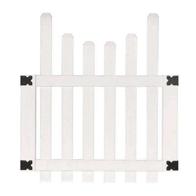 3-1/2 ft. W x 4 ft. H White Vinyl Glendale Scalloped Top Spaced Picket Fence Gate with 3 in. Dog Ear Pickets