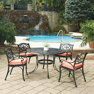 Sanibel Black 5-Piece Cast Aluminium Outdoor Dining Set with Coral Cushions