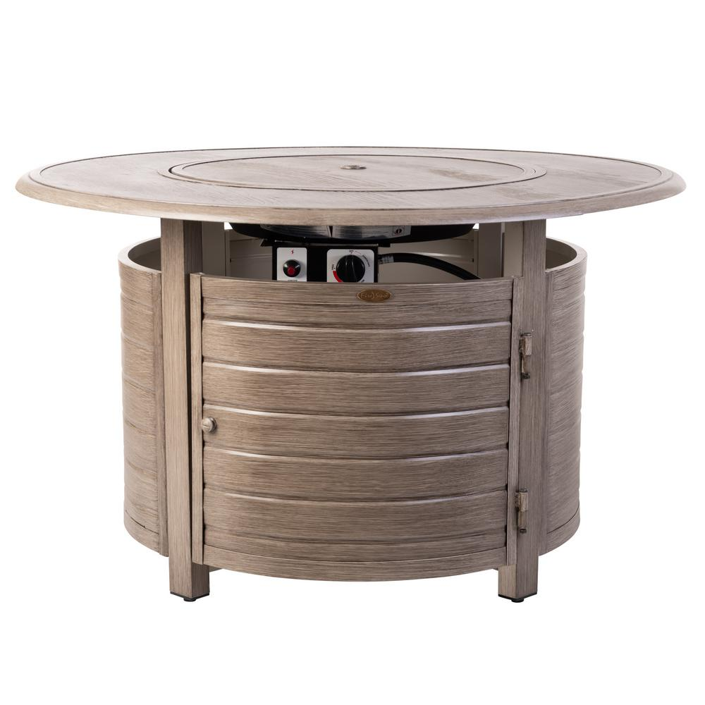 Fire Sense Thatcher 42 in. x 24 in. Round Aluminum LPG Fire Pit Table in Barnwood