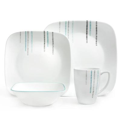Square 16-Piece Rain Drops Dinnerware Set