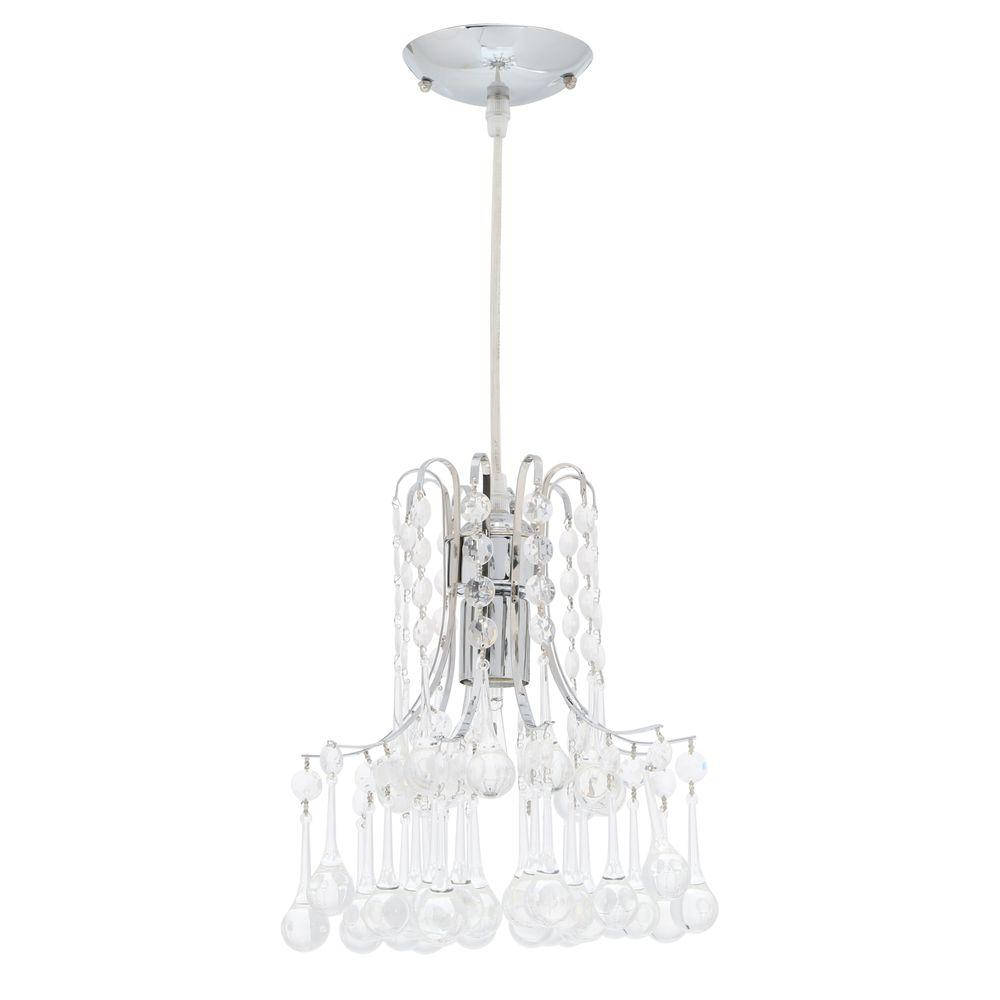 Hampton Bay Inverleigh 1-Light Chrome Mini Pendant with Clear Acrylic Accents was $44.97 now $19.28 (57.0% off)
