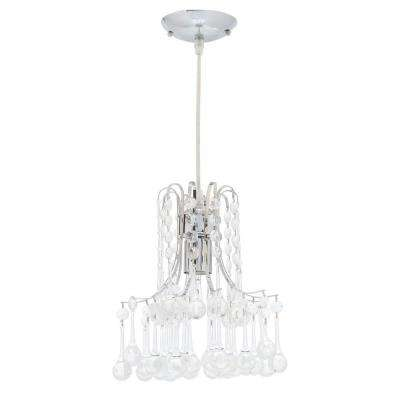 Crystal hampton bay pendant lights lighting the home depot inverleigh 1 light chrome mini pendant with clear acrylic accents aloadofball