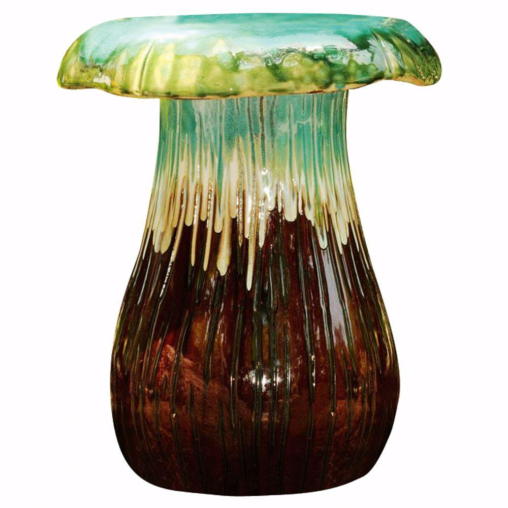 Home Decorators Collection Turquoise and Brown Mushroom Garden Stool