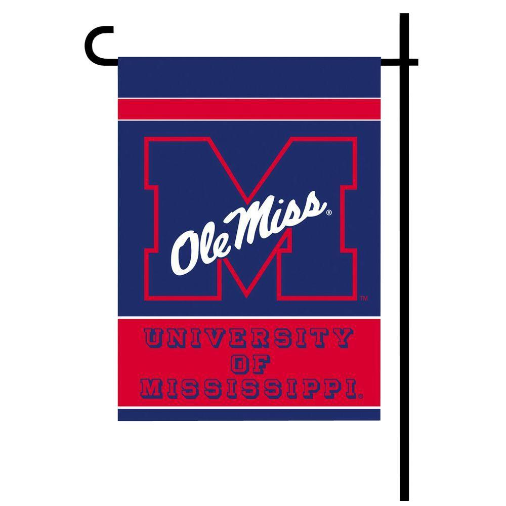 Bsi Products Ncaa 13 In X 18 In Ole Miss 2 Sided Garden Flag Set With 4 Ft Metal Flag Stand