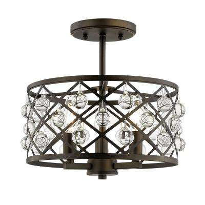 Pennington Crest 13 in. 3-Light Aged Bronze Semi Flush Mount with Crystal Globes