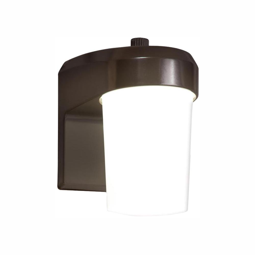 Halo Bronze Outdoor Integrated LED Entry and Patio Light Sconce with Dusk to Dawn Photocell Sensor, 5000K Daylight