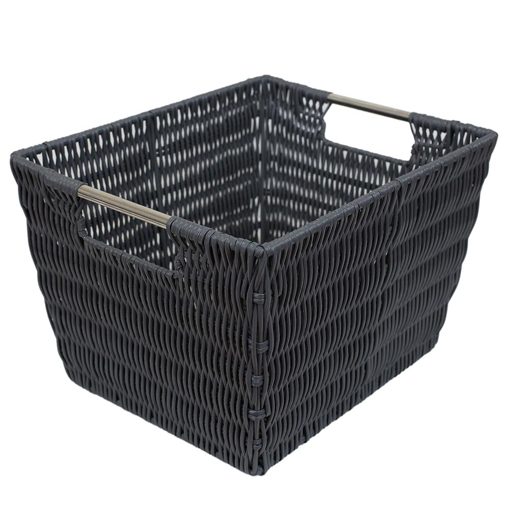 Intricate Decorative Weave 10 in. x 8 in. Grey Basket