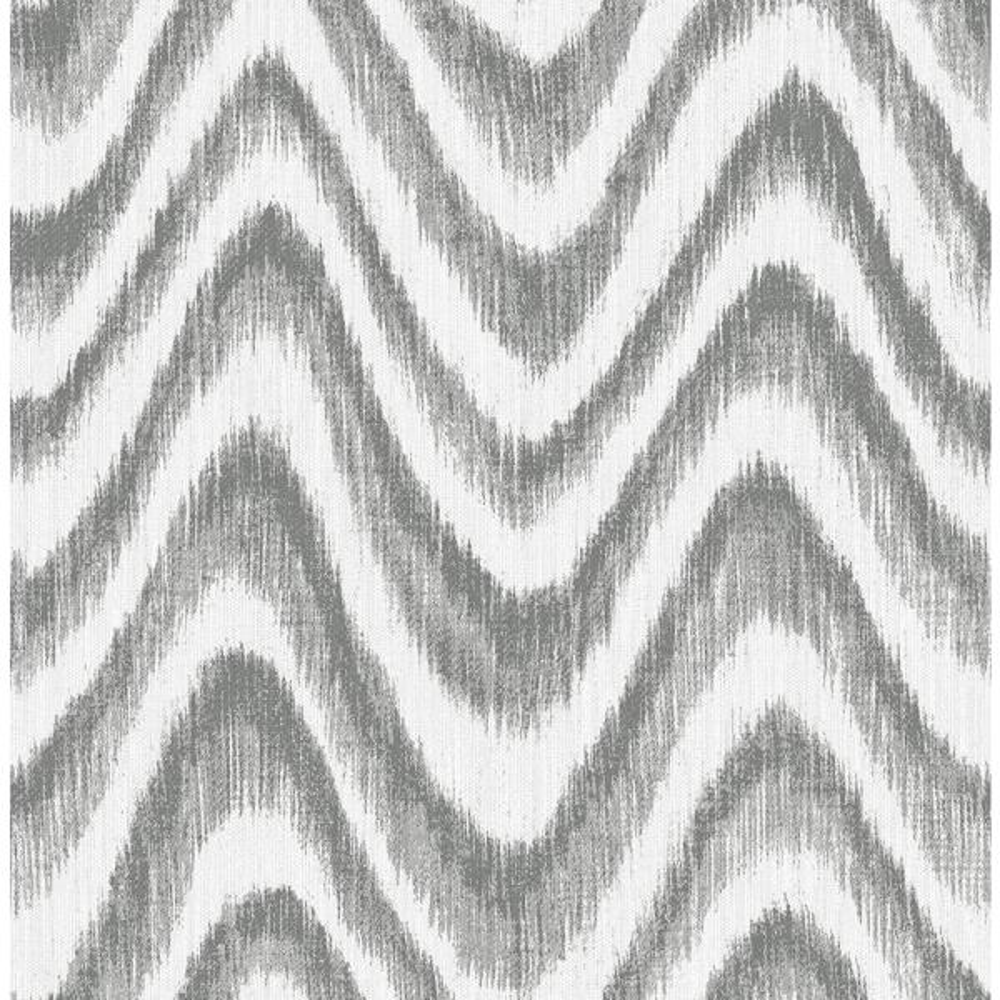 A-Street 56.4 sq. ft. Bargello Grey Faux Grasscloth Wave Wallpaper 2901-25407