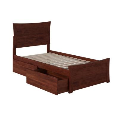 Metro Walnut Twin Platform Bed with Matching Foot Board with 2-Urban Bed Drawers