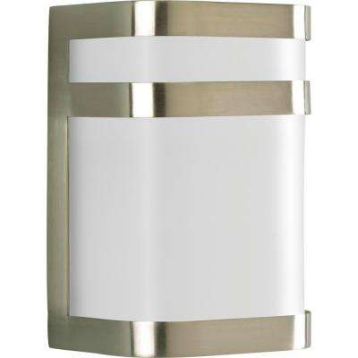 Valera Collection 1-Light 8.1 in. Outdoor Brushed Nickel Wall Lantern Sconce