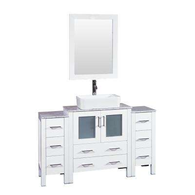 54 in. W Single Bath Vanity in White with Carrara Marble Vanity Top with White Basin and Mirror