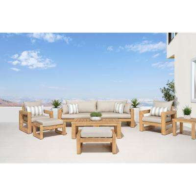 Benson 8-Piece Wood Patio Conversation Set with Slate Grey Cushions