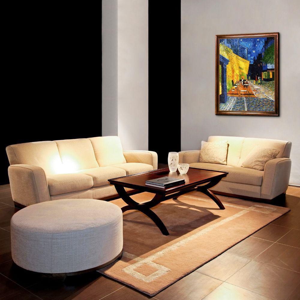 overstockArt Cafe Terrace at Night by Van Gogh with Verona Silver Braid Frame Medium