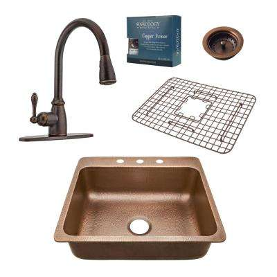 Pfister All-In-One Drop-In Rosa 25 in. 3-Hole Copper Kitchen Sink Combo with Pull Down Rustic Bronze Faucet