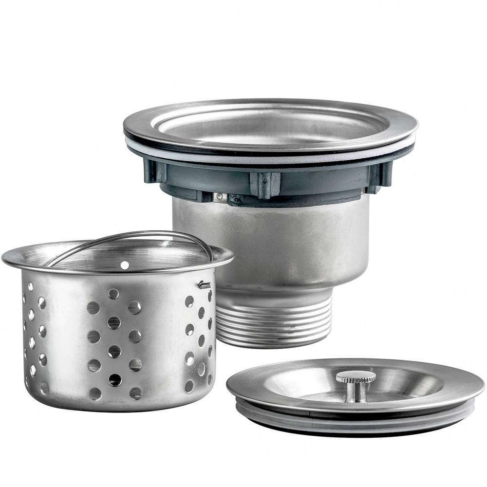 Golden Vantage 3.5 in. Multi-Layer Round Stainless Steel Kitchen Sink Drain  and Strainer Combo Set