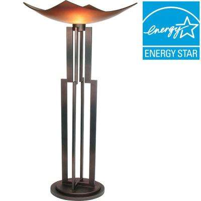 Century 74 in. Copper and Black Torchiere Lamp