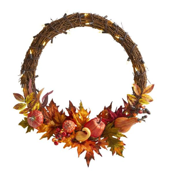 22 in. Pumpkin and Maple Artificial Autumn Wreath with 50 Warm White LED Lights