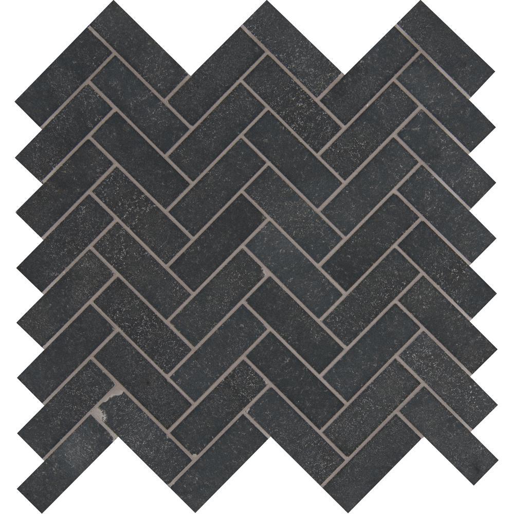 Herringbone Mosaic Gray Tile
