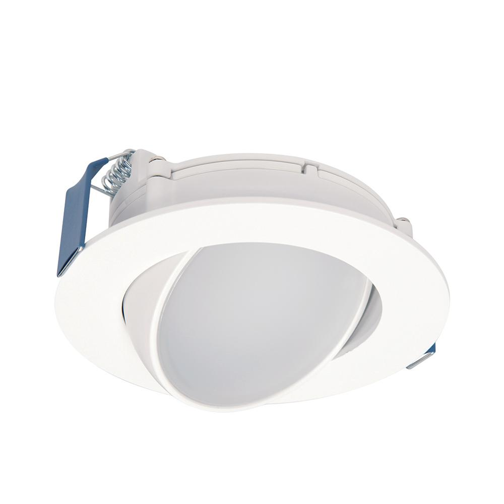 Halo Halo HLA4 4 in. 2700K-5000K Selectable Color Temperature Integrated LED Recessed Canless Wide Beam Adjustable Gimbal Trim