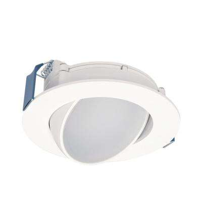HLA 4 in. Color Selectable (2700K-5000K) Canless Recessed Wide Beam Adjustable Gimbal Trim Integrated LED Kit