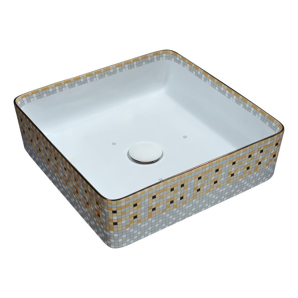 Byzantian Series Ceramic Vessel Sink in Mosaic Gold