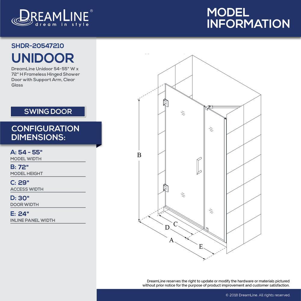 Dreamline Unidoor 54 To 55 In X 72 In Frameless Hinged Shower Door In Brushed Nickel Shdr 20547210 04 The Home Depot