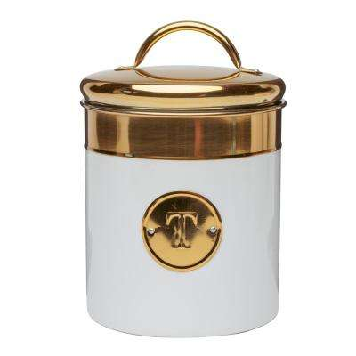 Simone 76 oz. Metal Tea Storage Canister with Gold Emblem