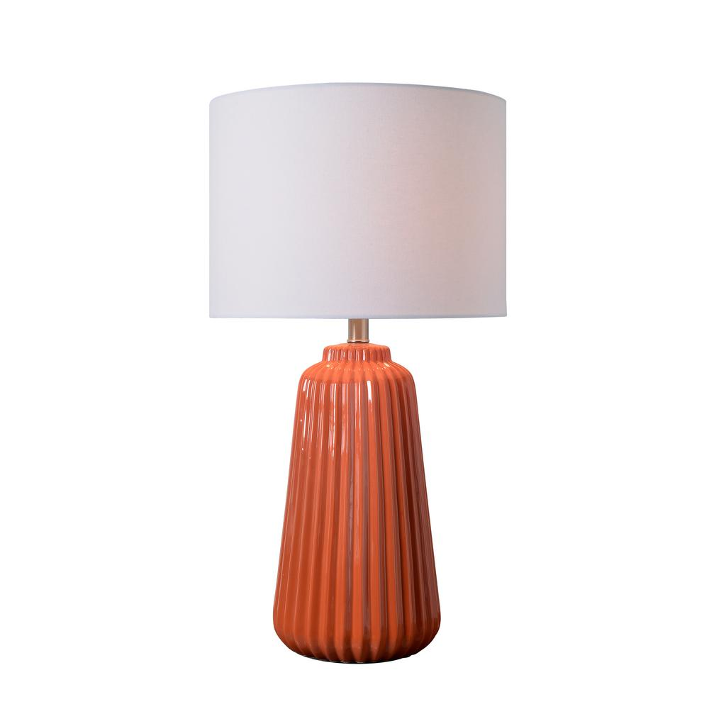 Kenroy Home Ziggy 26 In Orange Table Lamp With White Linen Shade
