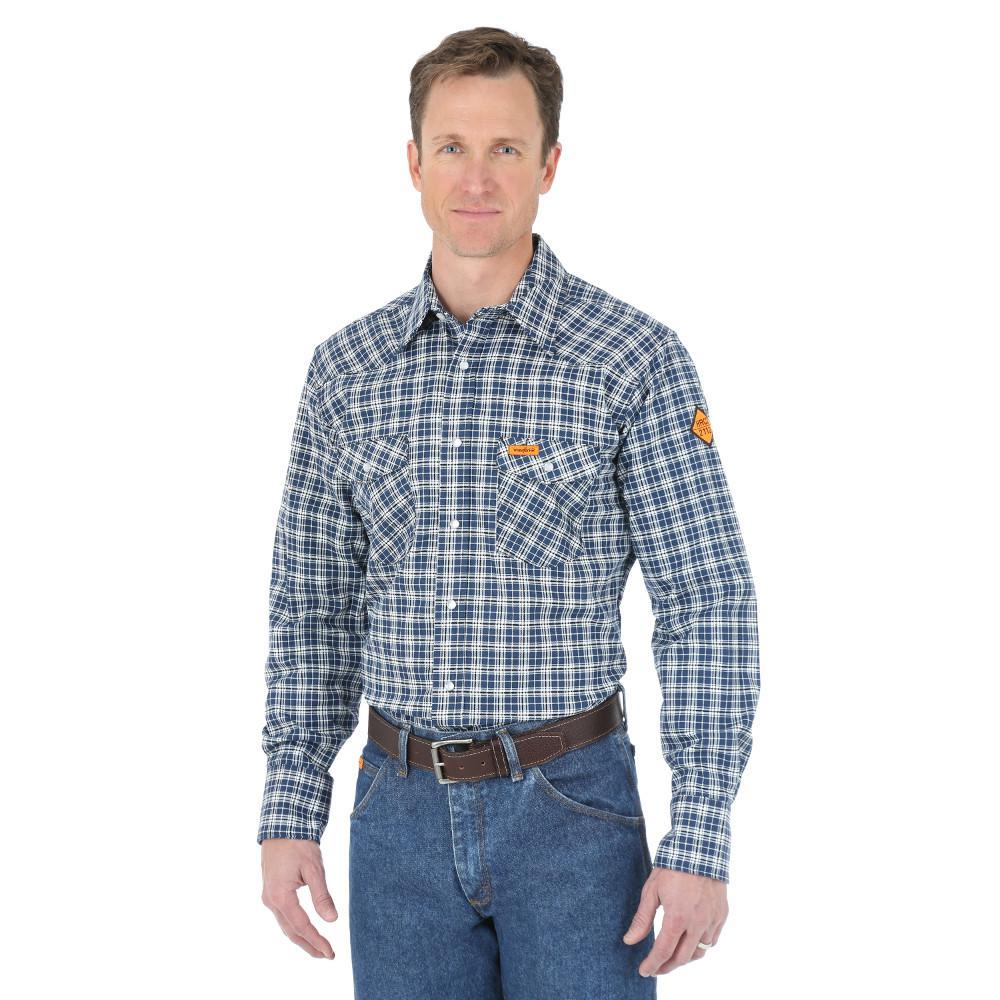 Men's Size Extra-Large Navy Plaid Western Shirt