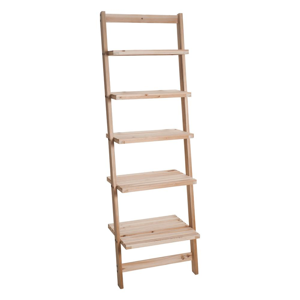 buy popular e4156 89006 5-Tier Natural Wooden Leaning Ladder Storage Shelf