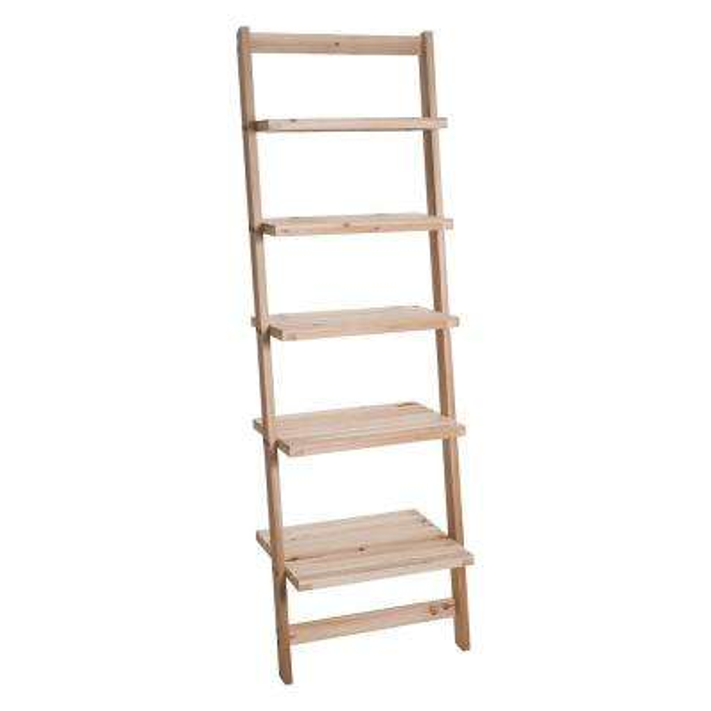 5-Tier Natural Wooden Leaning Ladder Storage Shelf