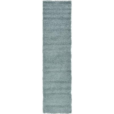 Solid Shag Slate Blue 10 ft. Runner Rug