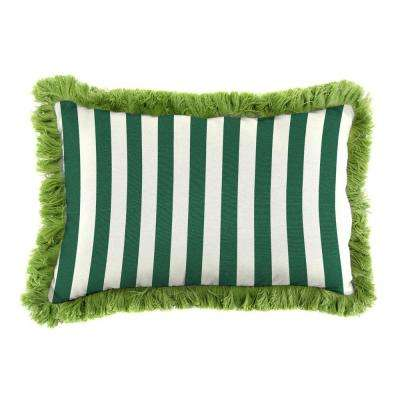 Sunbrella 9 in. x 22 in. Mason Forest Green Lumbar Outdoor Pillow with Gingko Fringe