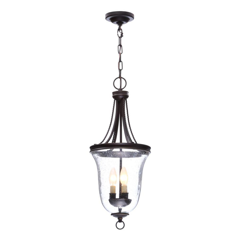 Progress Lighting Seeded Gl Collection 9 75 In 3 Light Antique Bronze Foyer Pendant With