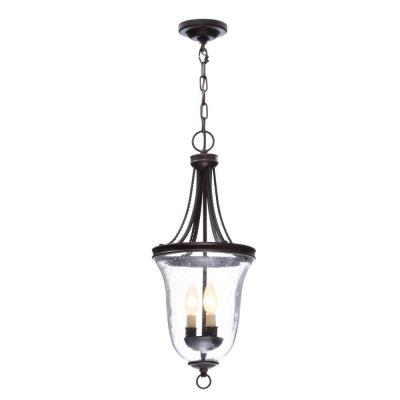 Seeded Glass Collection 9.75 in. 3-Light Antique Bronze Foyer Pendant with Clear Seeded Glass