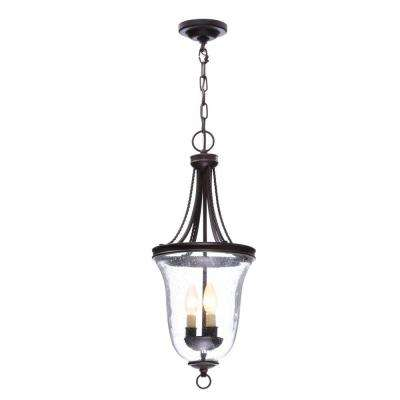 Seeded Glass Collection 3-Light Antique Bronze Foyer Pendant with Clear Seeded Glass