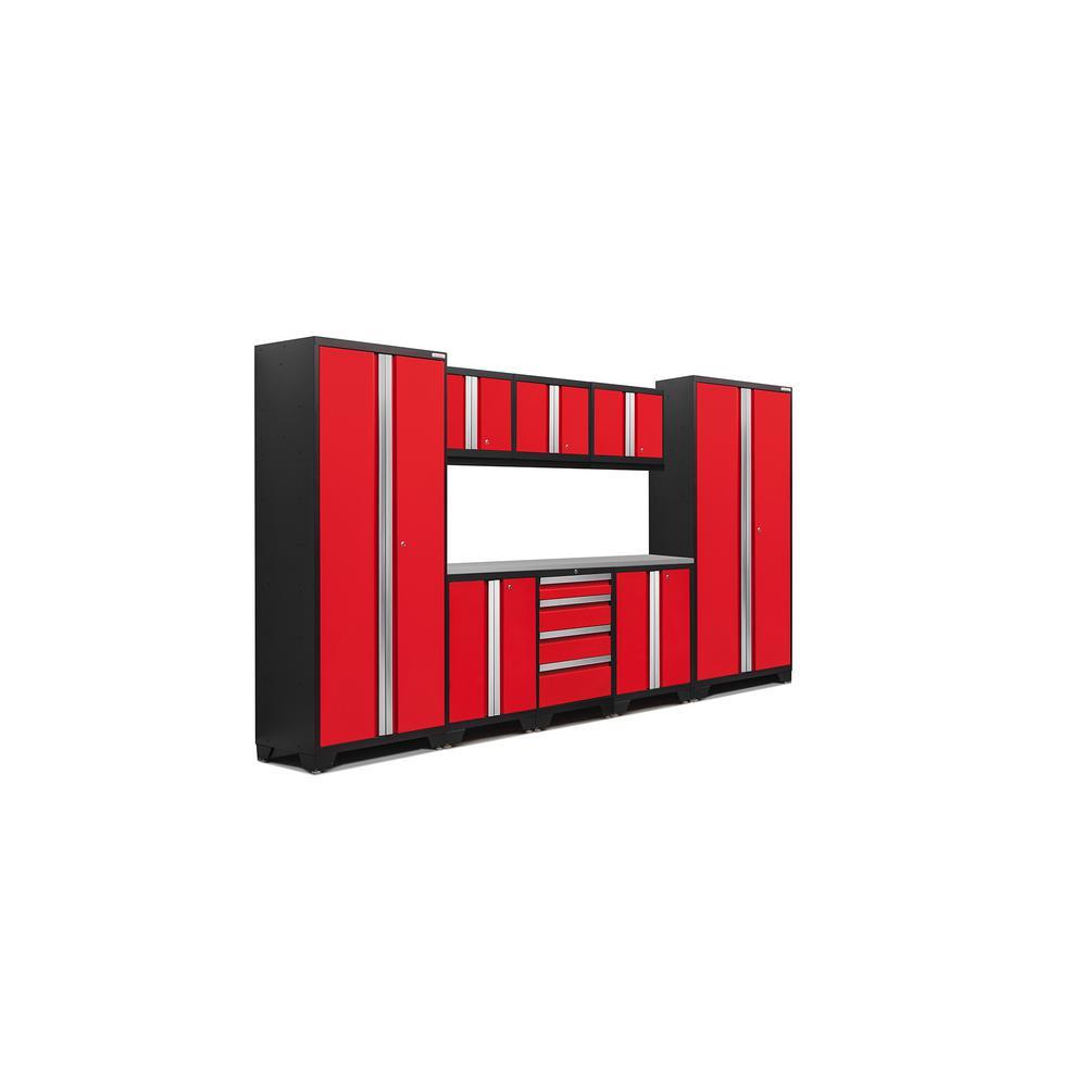 Bold 3.0 77 in. H x 132 in. W x 18 in. D 24-Gauge Welded Steel Stainless Steel Worktop Cabinet Set in Red (9-Piece)