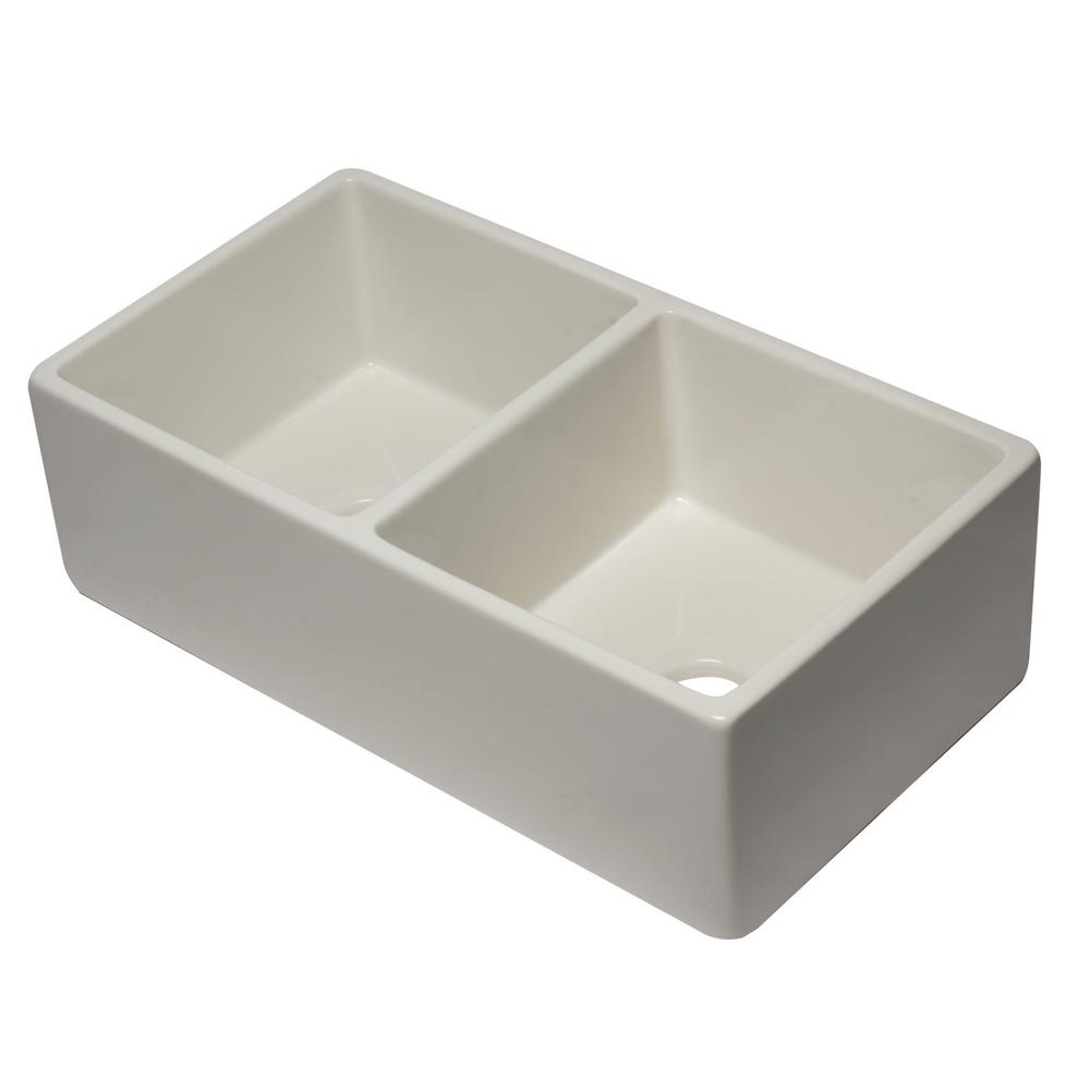 ALFI BRAND Farmhouse Fireclay 32.625 in. L 50/50 Double Bowl Kitchen Sink in Biscuit