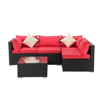 Black 5-Piece PE Wicker Outdoor Patio Sectional Sofa with Red Cushions