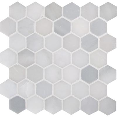 Greecian White Hexagon 12 in. x 11.75 in. x 10mm Polished Marble Mesh-Mounted Mosaic Tile (9.8 sq. ft. / case)