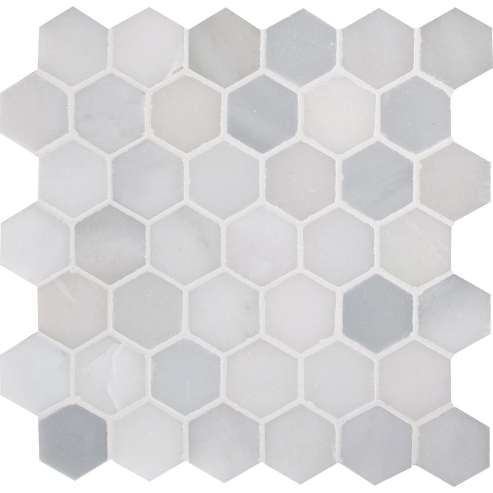 MSI Greecian White Hexagon 12 in. x 11.75 in. x 10mm Polished Marble Mesh-Mounted Mosaic Tile (9.8 sq. ft. / case)